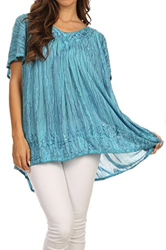 Sakkas 15780 - Elaine Embroidered Batik Scoop Neck Relaxed Fit Flutter Sleeve Blouse - Turquoise - OSP