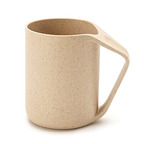 UPSTYLE Retro Eco-friendly Wheat Straw Lightweight Cup Biodegradable Mug Plastic Tumbler for Water, Coffee, Milk,Tea Size 13.5 oz (Beige) ()