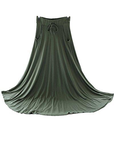 Retro Casual Fluide Vert Jupe Arme Maxi Jupe Femme Swing Une Cordelette Longue RwW1S15qvd