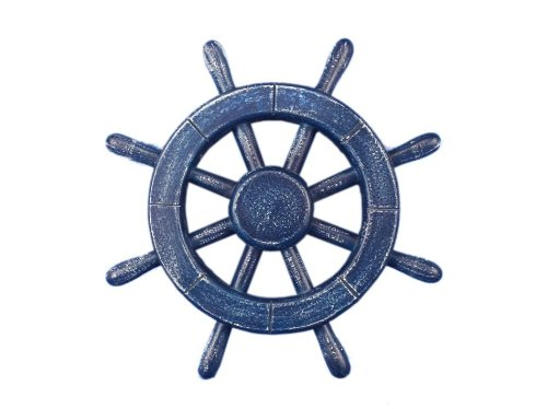 Hampton Nautical  Rustic All Dark Blue Ship Wheel, 12″