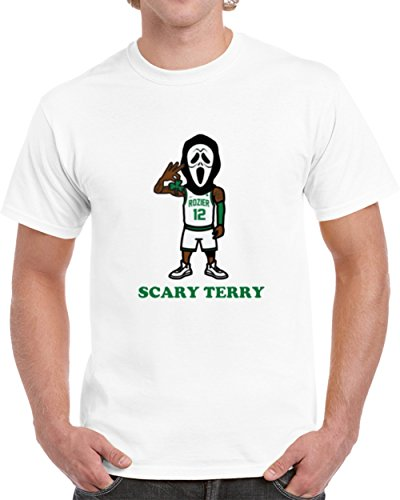 Supporter T-shirt - Scary Terry Rozier Scream Mask Boston Basketball Playoff Fan Supporter T Shirt M White