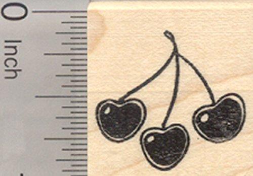 Cherries Rubber Stamp, Cherry on Stem (Cherry Stem Hedge)