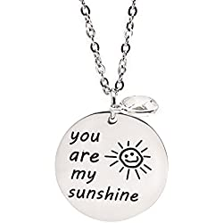 SUMMER LOVE Stainless Steel Pendant Necklace Lucky Jewelry Christmas Gift (You are my sunshine)