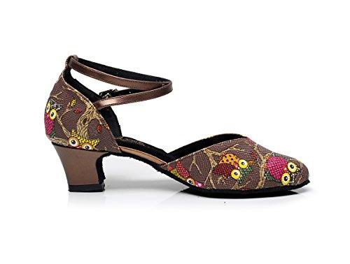 QJ6235 Strap Comfort Dance Ankle Salsa Coffee Womens Shoes Latin Ballroom Minishion Pleather OwqdIxOU