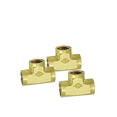 "Nigo Brass Pipe Fitting, Forged Brass Tee, 1/4"" x 1/4"" x 1/4"" NPT Female Pipe - 3 Pack"