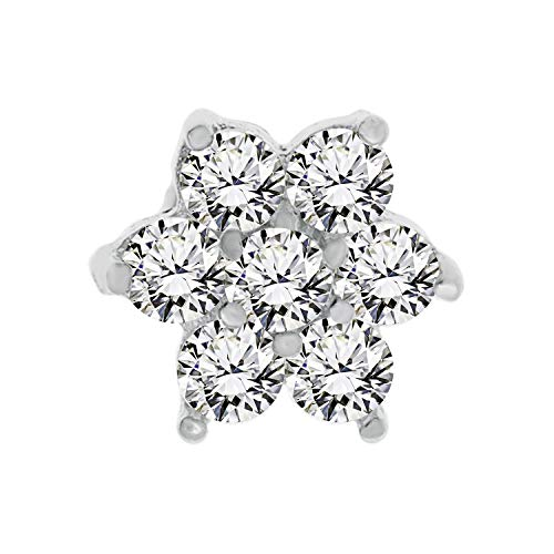 Lavari - 14K White Gold Flower White Cubic Zirconium Nose Ring Straight Stud 22G (Ring Zirconium Cubic 14k)