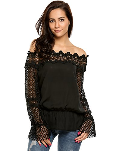 Zeagoo Women's Off The Shoulder Top Flare Sleeve Strapless Sexy Lace Blouse - Lace Top Stretch Black