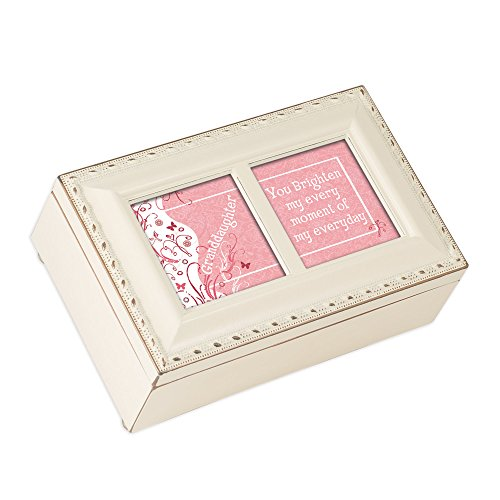 Cottage Garden Granddaughter Brighten Every Moment Matte Ivory Jewelry Music Box Plays You Light Up My Life