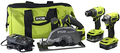 Ryobi P1837 18V One Cordless Brushless 3 Tool Combo Contractor Kit 9 pieces Drill Driver, Impact Driver, Circular Saw, 7-1 4 in Blade, Blade Wrench, Charger, 2.0 3.0 Ah Batteries, Bag