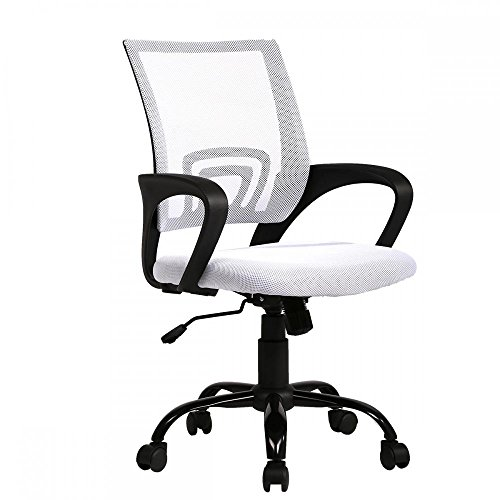 BestOffice Ergonomic Mesh Computer Office Desk Midback Task Chair w/Metal Base (White Fabric Chair Office)