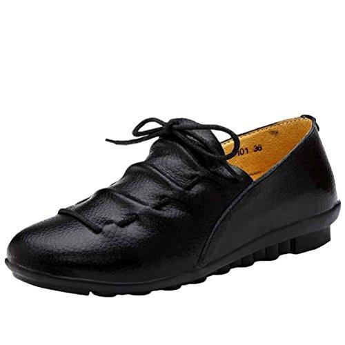 MatchLife Damen Leder Flach Schnürsenkel Schuhe Style2-Schwarz
