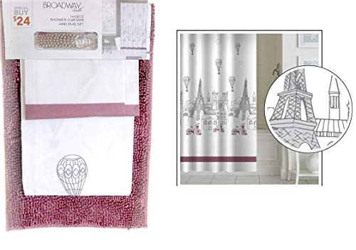 - DINY Home & Style 14 Piece Shower Curtain & Anti-Slip Noodle Rug Bath Mat Set with 12 Metal Roller Hooks Paris