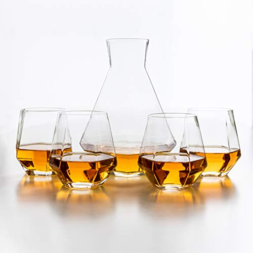 (Diamant 5 Piece Carafe Set - Geometric, Multi-Use, Modern Glassware - 4 Lightweight, Luxury Glasses for Water, Cocktails, Whiskey, Bourbon, Stemless Wine Glass - Box Set, by Kop & Hagen)