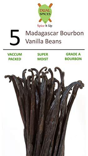 DUALSPICES - 5- GRADE A Madagascar Bourbon Vanilla Beans (Vanilla Planifolia) SUPER MOIST & FRESH 33% Moisture Content - 5-6 ()
