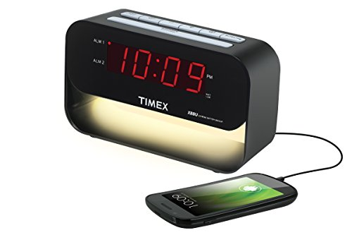Timex T128B6 Dual Alarm Clock with USB Charging and Night Light - Black