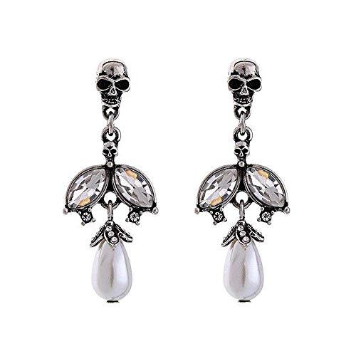 (Vinty Jewelry Skull Dangle Earrings With Pearls For Women)