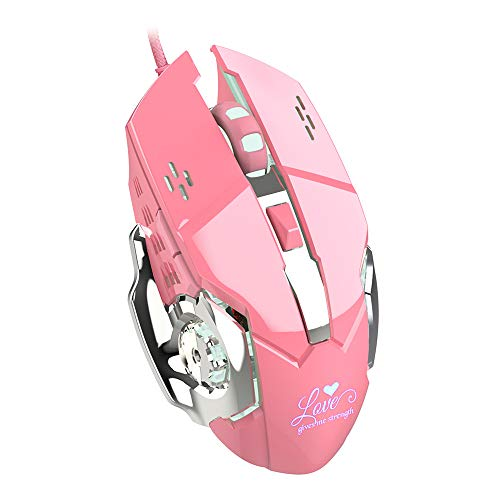Lee Lam Gaming Mouse, Ergonomics Girl Pink RGB Gaming Wired Mouse Dazzle Light Optical Mouse Suitable for Gamers and Typists ()