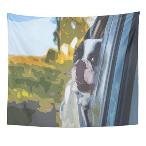 Semtomn Tapestry Artwork Wall Hanging Garage Dog in Car Window Simple Motor Engine Power 50x60 Inches Tapestries Mattress Tablecloth Curtain Home Decor Print
