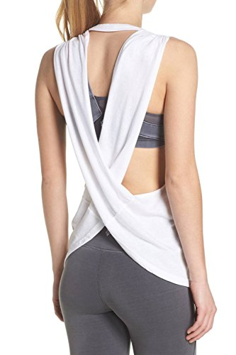 Duppoly Workout Yoga Tops Sexy Cross Open Back Running T Shirt Junior Ladies Sleeveless Round Neck Sport Tank Top Active Wear White XL