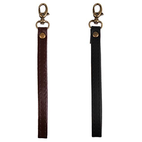 Dovewill 2Pc PU Leather Replacement Clip-On Wrist Strap For Clutch/Purse/Pouch/Camera
