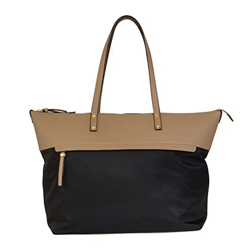tutilo-tonality-two-tone-top-zip-tote-handbag-with-removable-pouch-black-taupe