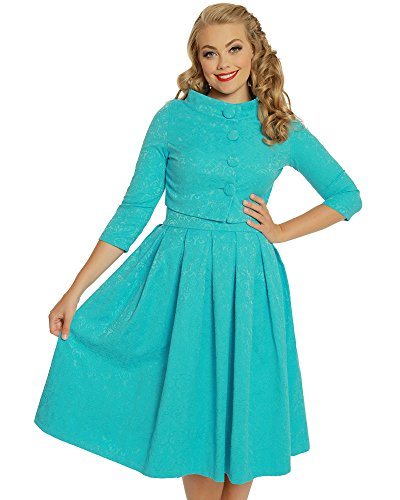 Lindy Bop Marianne' Turquoise Swing Dress and Jacket Twin Set - L (Brocade Zip Jacket)