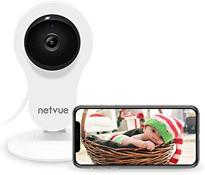 NETVUE 1080P Indoor Security WiFi Camera, Work with Alexa, Echo Show, Wireless Security Camera with Night Vision, Motion Detection, Two Way Audio Baby Monitor for Elder Baby Pet