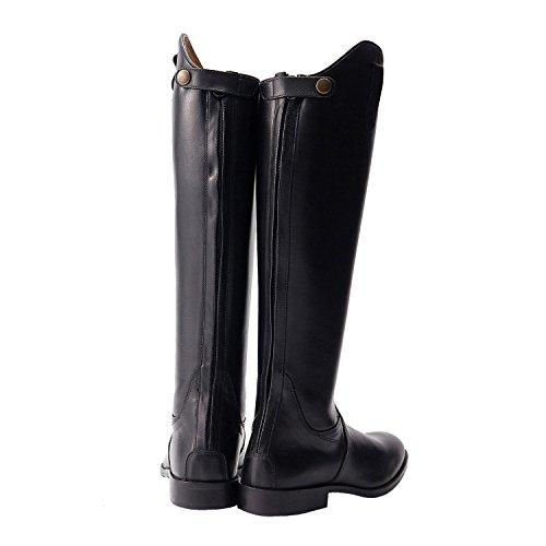 NORFOLK negro largo botas de cuero caballo calzado establo Negro - negro