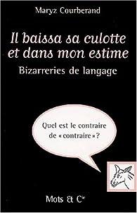 Il baissa sa culotte et dans mon estime: Bizarreries de langage  par Maryz Courberand