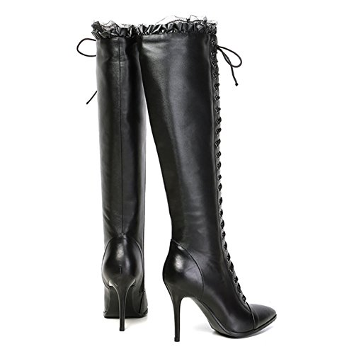 VOCOSI Women Boots, Sexy Lace Lovery Leather Shoes for Spring Winter Knee Booties Black