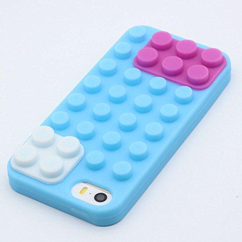 iPhone 5 / 5S / SE Custodia Cover , Keyihan Morbida Silicone 3D Building Block Protettiva Case per Apple iPhone 5/5S/SE (Blu Mattoni giocattolo)