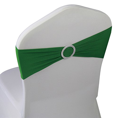 Grass Green Spandex Chair Bands Sashes - 50 pcs Wedding Banquet Party Event Decoration Chair Bows Ties (Grass Green, 50 pcs)