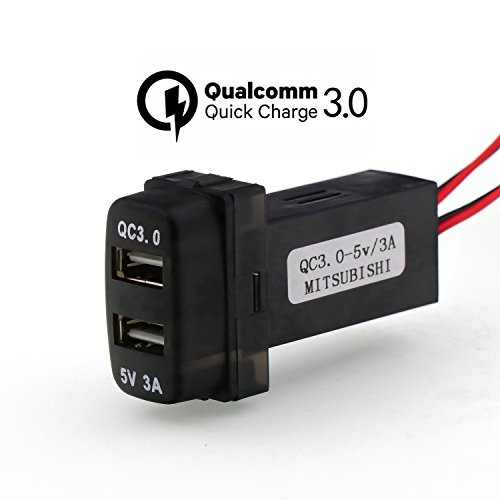 QC3.0+5V 3A Dual USB Power Socket, Quick Charge Car Charger USB Adapter for Smart Phone PDA iPad iPhone Android GPS Use for Mitsubishi
