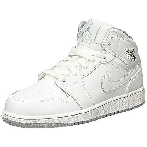 Jordan Nike Kids Air 1 Mid BG White/White/Wolf Grey Basketball Shoe 5 Kids  US
