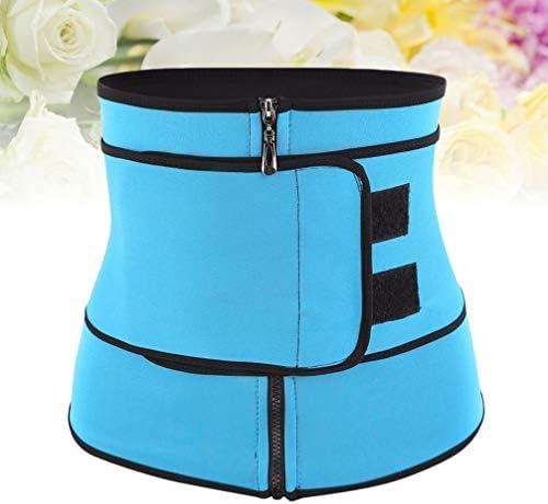HEALLILY Neoprene Sweat Waist Trainer Yoga Sauna Corset Trimmer Belt Cincher Body Shaper Slimmer for Women Weight Loss Waist Blue (Size L) 9
