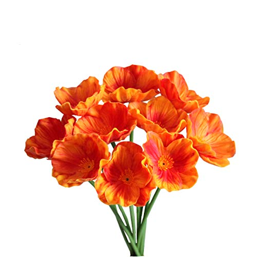 Mandy's 10pcs Orange Poppies Silk Artificial Flowers 12.5