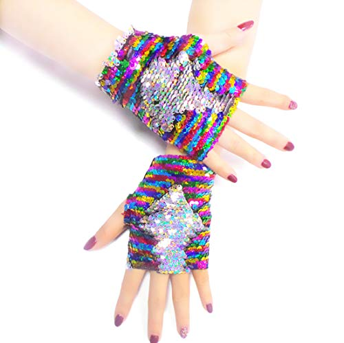 (Mermaid Gloves, Reversible Magic Sequin Fingerless Gloves for Dance Birthday Party Favor Gifts, Decorative Charm Wristband for Kids, Girls and Women)