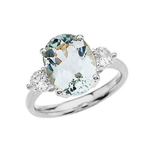 Elegant 14k White Gold Sky Blue Aquamarine with White Topaz Engagement/Proposal Ring (Size 6.25)