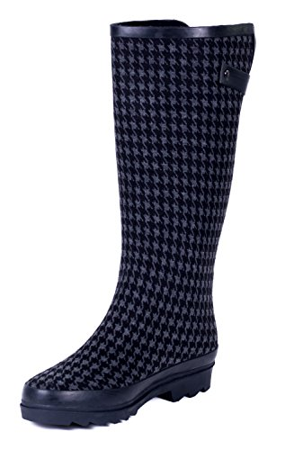 Forever Young Couture Women Rubber Black Houndstooth Rain Boots 10 US