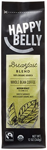 Happy Belly Breakfast Blend Organic Fairtrade Coffee, Medium Roast, Whole Bean, 12 ounce