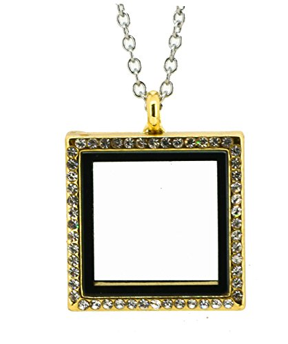 ough Memory Floating Charm Locket Pendant Necklace (Gold Tone) (Gold Square Charm)
