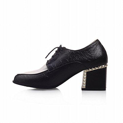 Carol Shoes Womens Assorted Colors Lace-up Rose Pattern Scarpe Oxford Con Tacco Medio E Grosso Nero