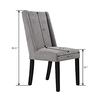 LSSBOUGHT Upholstered Fabric High Back Dining Chairs, Set of 2 (Gray)