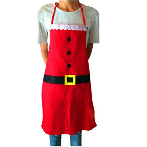 BESTOYARD Christmas Apron with Pocket Santa Apron Cooking Baking Chef Apron Red Washable Flannel Fabric Apron (Red) ()