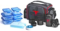 ThinkFit Insulated Lunch Boxes (Red/Blue) With 6 Portion Control Containers, Reusable Ice Pack, Pill Box, Shaker Cup, Shoulder Strap and Extra Stor