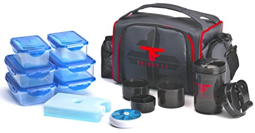 ThinkFit Insulated Lunch Box (Red/Blue) With 6 Portion Control Containers, Reusable Ice Pack, Pill Box, Shaker Cup, Shoulder Strap and Extra Storage Pocket Best Lunchbox for Meal Prep