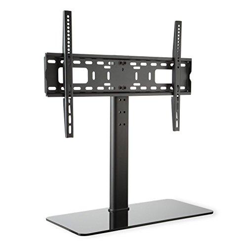 auna TV-Ständer Fernsehständer Fernsehtisch geeignet für Bildschirme mit einer Diagonale von 23-55 Zoll, mit schwarzem Glas-Standfuß (Höhe 76 cm, höhenverstellbar in 3 Stufen, Größe L ) Schwarz