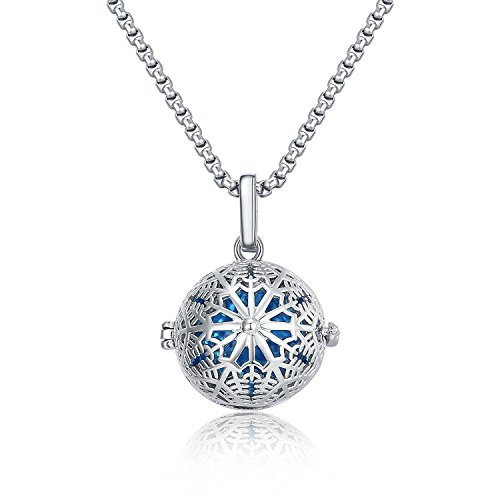 22&Co. Aromatherapy Essential Oil/Perfume Fragrance Diffuser, Snowflake Pendant/Locket Necklace,Shinning Silver, Coloured Glaze with 19