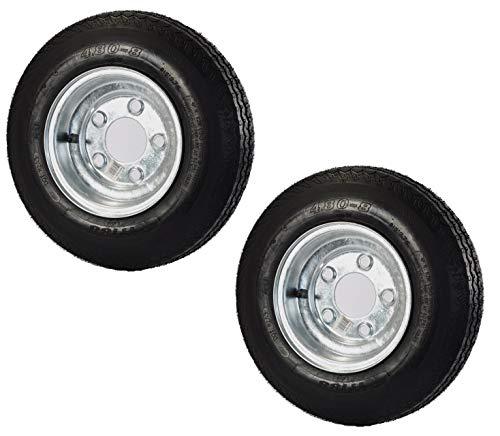 2-Pack Trailer Tire On Rim 480-8 4.80-8 Load C 5 Lug Galvanized