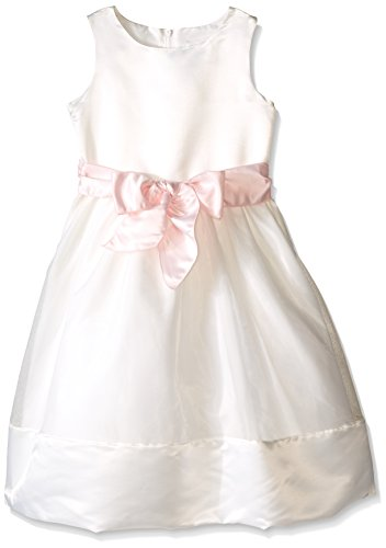 Lavender Slim Girls Sleeveless Bodice with As Sash and A Hem Full Skirt, Ivory/Blush Pink, 10